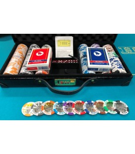 SET DAL NEGRO - 300 CHIPS IN CLAY 15,5 GRAMMI DA 43 MM CON VALIGIA, DADI E CARTE