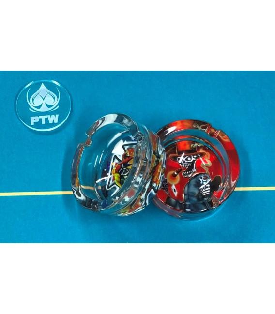 N° 6 POSACENERE CARDS DAL NEGRO IN VETRO RINFORZATO ( GLASS ASHTRAY )
