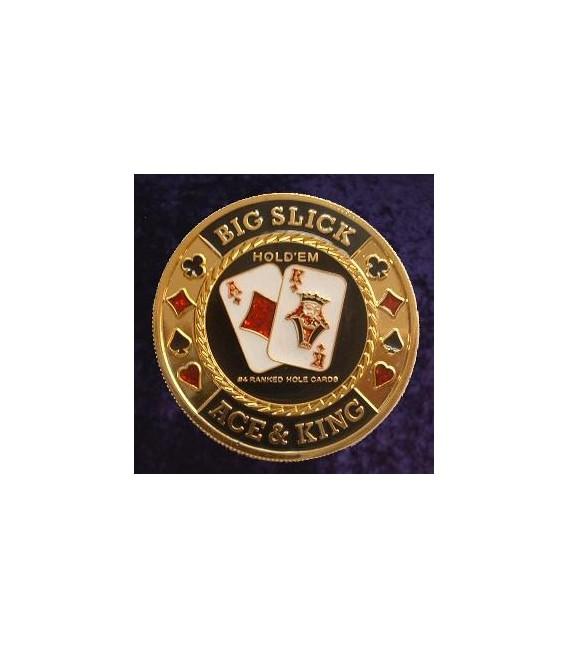BIG SLICK METAL POKER CARD PROTECTOR GOLD