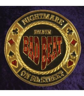 BAD BEAT Metal Poker Card Protector Gold