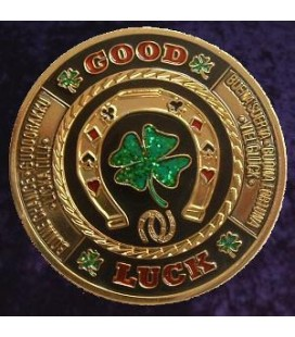 GOOD LUCK METAL POKER CARD PROTECTOR GOLD